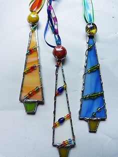 Red White and Green Stained Glass Tree Ornaments by miloglass