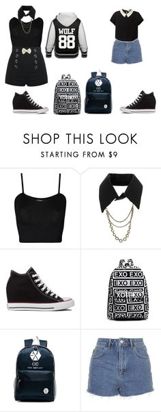 """""""Exo BFF's: School"""" by cleona-and-hakeem-bae ❤ liked on Polyvore featuring WearAll, Converse and Topshop"""