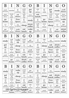 Actividad (juego) de clase para reforzar el vocabulario nuevo de las actividades diarias; reconocer los verbos con su respectivo noun , reforzar la pronunciación  - Trabajos ELE