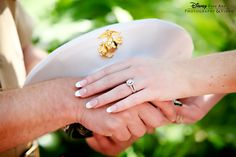 This couple's ringshot shows their commitment to each other and to their country #Disney #wedding #ringshot #military