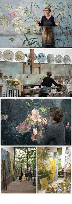 Claire Basler:  Botanical Paintings (working in an old ironworks on the outskirts of Paris). Peintures botaniques (travaillant dans une ancienne forge à la périphérie de Paris). http://www.clairebasler.com:
