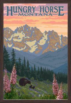 Hungry Horse, Montana - Bear Family & Spring Flowers - Lantern Press Artwork (24x36 Giclee Art Print, Gallery Framed, Espresso Wood), Multi
