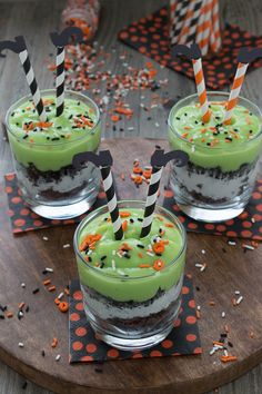 Celebrate Halloween with a pudding parfait. Mix up some green pudding and add in brownie pieces, whipped cream, and oreos. Top the parfait with easy to make witch's legs!