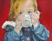 "Mini Fine Art Portrait Print - ACEO - from Original Painting of a Child Drinking -  ""Babyccino"" - Christmas in July Sale. $3.83"
