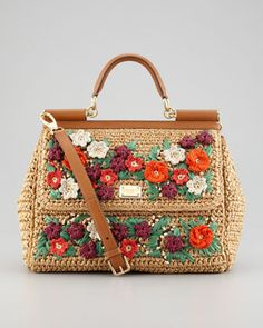 Dolce and Gabbana, Dolce and Gabbana Miss Sicily Floral Crocheted Straw Bag Straw Handbags, Satchel Handbags, Purses And Handbags, Crochet Handbags, Crochet Purses, Dolce And Gabbana Handbags, Branded Bags, Shopper, Knitted Bags