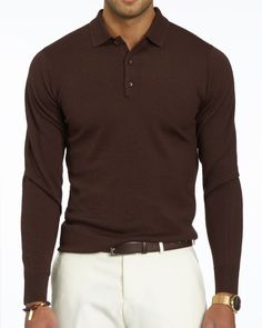 Brown Long Sleeve Polo base