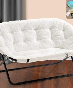 white sherpa double saucer chair zulilyfinds - Dorm Room Chairs