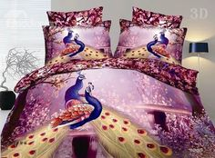 New Arrival 100% Cotton Gorgeous Peacock 3D Printed 4 Piece Bedding Sets @bedding inn