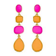 neon pink + orange earrings