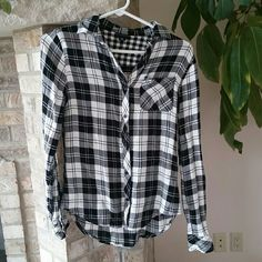 Black and White Flannel Shirt Worn once, excellent condition.  Great for layering with sweaters and under vests. Longer in the back, very cute! Willi Smith Tops Button Down Shirts