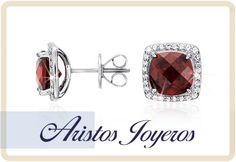 Aretes con halo irresistiblemente elegantes, con una gema de granate intensa rodeada de un pavé de bellos diamantes !