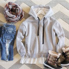 Heathered Fleece Hoodie + Chimney Sweep Scarf + Sawyer Jean + Eskimo Plaid Snow Boots = Winter Looks We Love
