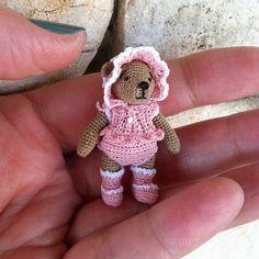 Tiny Elspeth Miniature Amigurumi Teddy Bear by BluebearyTreasures2, $95.00