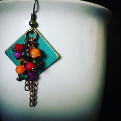 Peacocks and Leopards Earring Add On to your Divine Feminine Connection Necklace session.  Colorful Diamond, Cluster Earrings