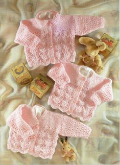 "Baby Cardigans Knitting Pattern PDF baby girls jackets Scallop Edge lacy 16-26""…"