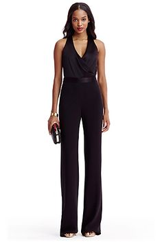 DVF Layana Satin and Crepe Combo Jumpsuit In Black