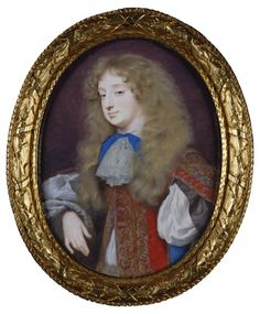 Frances Stuart, Duchess of Richmond, court beauty and favourite of Charles II, is shown in Samuel Cooper's miniature wearing female riding attire consisting of a scarlet riding habit embroidered in gold and silver worn over a lilac undervest.