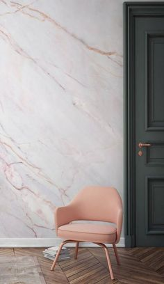 Marble wall, blush chair and charcoal grey door