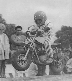 """circa 1970- Jeff Ward earning his nickname """"The Flying Freckle""""  Check out the Hodaka motor..."""