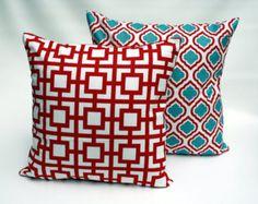 Decorative pillow, throw pillow, cushion, zipper pillow cover, red and blue pillow, boys pillows, beach decor, Euro sham, Lumbar