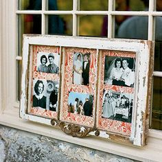Antique Wedding Memento | This bride displayed family wedding photos in an antique window she made into a frame. | SouthernLiving.com