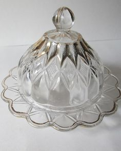 Antique Frosted Pressed Glass Domed Covered Butter Cheese Dish Gilt accents