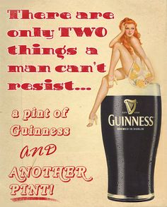 Guinness PinUp Girl Two Things Man Cant Resist