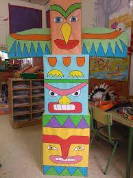 """Résultat de recherche d'images pour """"fabriquer un totem indien en maternelle"""""""