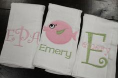 Set of three burp cloths-fish set--pink and green--perfect baby shower or hospital gift--personalized and unique