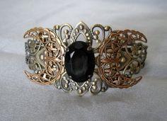 Triple Moon Goddess Cuff Bracelet, wiccan jewelry pagan jewelry wicca jewelry witch celtic druid new age pentagram witchcraft mystic magic