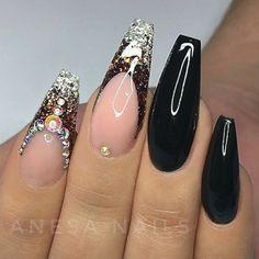Ballerina Nails. Fall Nails. Nails With Rhinestones. Black Nails. Acrylic Nails. Gel Nails.