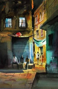 Landscape lighting water inspiration Ideas for 2019 Colorful Art, Indian Paintings, Art Painting, Watercolor, Composition Painting, Watercolor Landscape Paintings, Life Art, Folk Art Painting, Landscape Architecture Drawing
