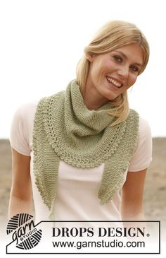 "Caress - Gebreide DROPS sjaal met ruche van ""Alpaca"". - Free pattern by DROPS Design"
