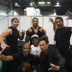 The Shield [Dean Ambrose, Roman Reigns and Seth Rollins] with Jason David Frank and DMC (of Run-DMC)