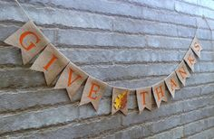GIVE THANKS Burlap banner  Fall sign Fall décor by Sunshineatheart, $24.99