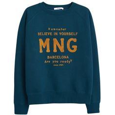 Mango Printed Velvet Message Sweatshirt , Dark Blue ($31) ❤ liked on Polyvore featuring tops, hoodies, sweatshirts, dark blue, raglan sleeve sweatshirt, dark blue sweatshirt, raglan top, blue long sleeve top and velvet tops