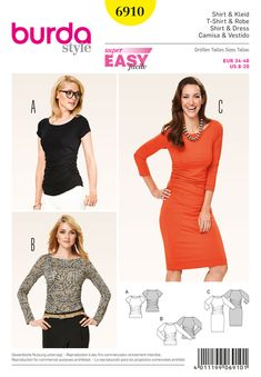 Burda Style Shirt and Dress Feminine, gathered and figure-hugging silhouettes. Shirt and dress made of bi-elastic jersey. The flat neck and raglan sleeves emphasize the young style both of the shirt and the dress. Burda Sewing Patterns, Clothing Patterns, Dress Patterns, Raglan Shirts, S Shirt, Shirt Dress, Diy Fashion, Fashion Dresses, Patron T Shirt