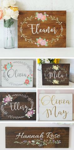 Beautiful hand painted baby name signs. These would look so beautiful hanging in the nursery #baby #ad