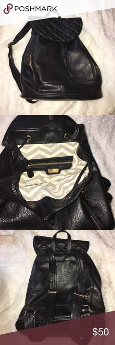 Deux lux genuine leather backpack Perfect condition inside and out.... gold tone hardware in excellent condition... soft genuine leather... flap is quilted and embellished with black studs..Reasonable offers only 🙏🏽🙏🏽 Deux Lux Bags Backpacks