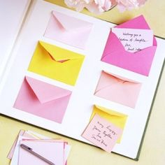 Guest book time capsule: tape tiny envelopes to an album to collect personal messages. Label pages with years, reveal as anniversaries pass. (NOTE: unfortunately the site for this idea no longer exists. The link will take you to weddinggawker.com where the idea/link was posted).