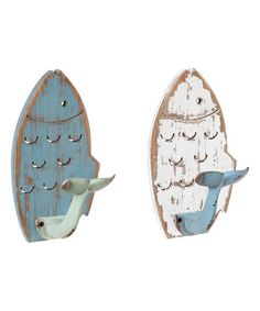 Blue & White Fish Tail Cast Iron Wall Hooks - Set of Two