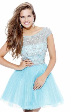Sherri Hill 2814 A-Line Light Blue Beaded Short Tulle Homecoming Dress Light Blue Homecoming Dresses, Prom Dress 2014, Blue Evening Dresses, Beaded Prom Dress, Dresses 2014, Evening Gowns, Evening Party, Sequin Gown, Beaded Top