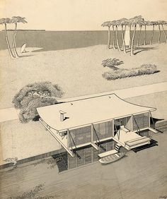 Healy Guest House - Aerial Rendering - Paul Rudolph