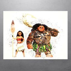 Walt Disney Moana & Maui Watercolor Poster by PixArtsy on Etsy