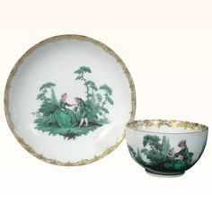 Antique Early Meissen Antique Green Watteau Cup and Saucer c.1740-45. Green Enamel Teacup.