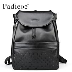 Black top grain real cow leather backpack new fashion rivet women backpack 2016 high quality backpacks for teenage girls