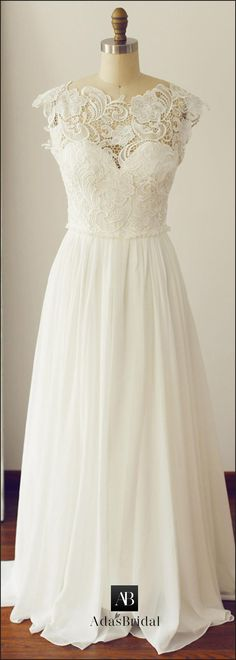 Chic Lace & Chiffon Asymmetrical Neckline Cap Sleeves A-line Wedding Dresses