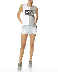 RVCA Womens Australia || Summer 2014 Campaign || Cut Out Box Muscle & Fragments Denim Short
