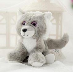 18cm Cute Wolf Plush Toy Stuffed Soft Big Eyes Husky Animals Toy Kawaii Kids Doll