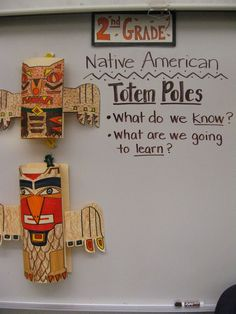 Jamestown Elementary Grade Native American Totem Poles Great end of the unit applying their knowledge and fine motor skills to create their own totem poles and allow them to discuss its meaning AF Native American Lessons, Native American Totem Poles, Native American Projects, Native American Art, American History, American Symbols, American Women, American Indians, Jamestown Elementary